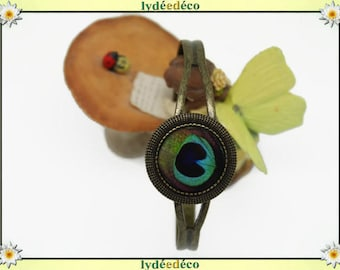 Retro vintage turquoise blue green Peacock feather resin adjustable round 20mm brass bronze