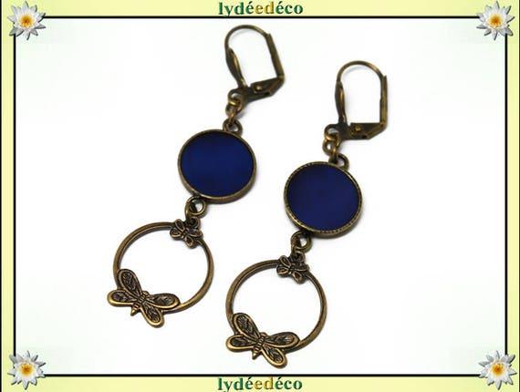 BLUE resin pendants print Midnight Blue brass earrings creole butterflies