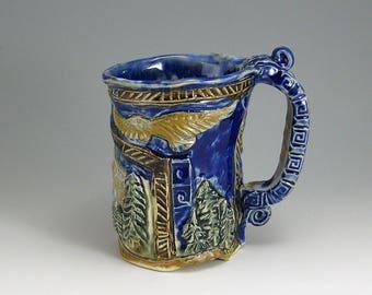 Yosemite Eagle Bear Mug, 16oz Carved Hand-built Stoneware Mug (#55)