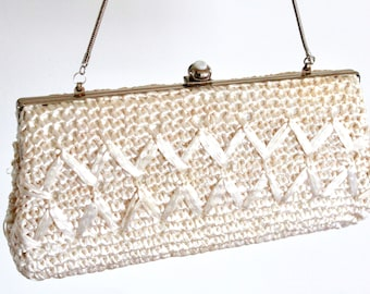 Vintage Raffia Woven Cream Evening Bag / handbag / Wedding Clutch / Wicker Clutch / Boho Evening bag