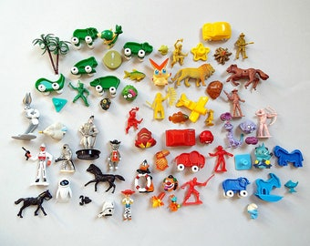 MINI TOYS COLLECTION - instant collection colorful small toys, assemblage collage animals figurines dollhouse items, jewelry pendants supply