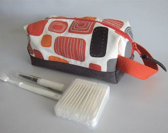Rectangular toiletry handbag, toiletry boxy pouch, dopp kit, box pouch - Orange and grey squares