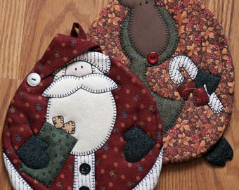 Santa Pot Holders, Rudolph Pot Holders, Christmas Decor, Christmas Pot Holders, Christmas Trivet