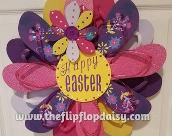 "Beautiful ""Happy Easter"" Flip Flop Wreath Wall Door Decor Beach Ocean Unique Gift Summer Fun Florida Patio"