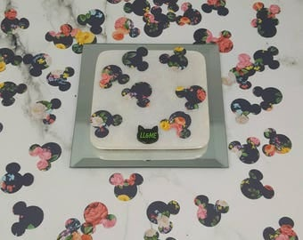 Navy blue floral mouse head confetti, table scatter, photo prop, magic mail,