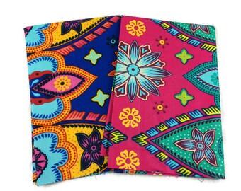 African Wax Print Fabric--FAT QUARTER BUNDLE--Julius Holland Assortment--Assorted Color/Assorted Patterns Prints--2-Pack Fat Quarter Bundle