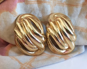 Vintage 1980s Givenchy Swirled Gold Earrings