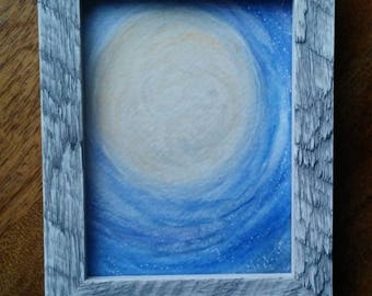 Moon Watercolor original. Galaxy Watercolor. Valentine Decor. Valentine Gift.Framed with easel back. Free Shipping