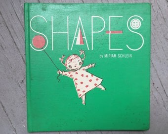 Amazingly Adorable MCM Child Book, Shapes, Sam Berman Graphics, 1952 Hardcover, Read Aloud Gift Framing Upcycling Green Orange Graphics