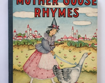 Mother Goose Rhymes, Platt and Munk, 1939 Hardcover, Charming Illustrations