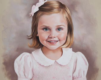 Pastel portrait painting of a young girl, child portrait on Pastel, 19 x 20 Inches