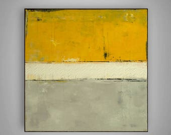 Yellow Acrylic Painting , Absract Art, Modern Wall Painting by M.Schöneberg  28x28x0,75
