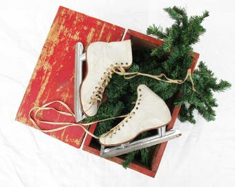 Winter Door Decor - All Leather Women's Ice Skates - Holiday Display - Off-white Leather Ice Skates - Aged - Rustic Chic - Hang Them Up
