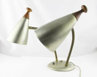 Double Gooseneck Frosted Brass Lamp With Cone Shades - Flexing Movement - Reading Light - Mid-Century Lighting - '60s Lamp