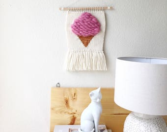 Ice Cream cone woven wall hanging, kitchen decor, nursery art, pink hanging tapestry, baby shower gifts, baby girl, new mom gift, tapestry
