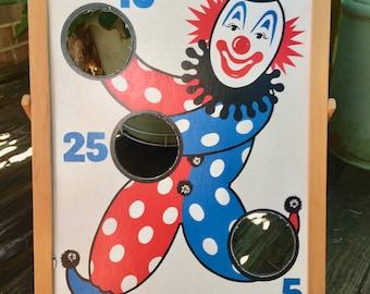 Vintage carnival board, clown, red, white, blue, beanbag toss