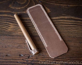 Pen Sleeve size large - hand stitched Horween leather - natural