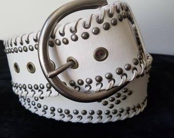 Badass White Studded Belt