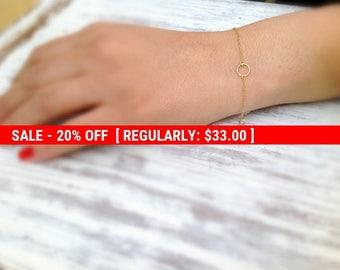 SALE 20% OFF Gold bracelet,gold circle bracelet,delicate bracelet,tiny circle bracelet,everyday bracelet,karma bracelet,delicate jewelry