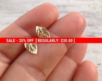 SALE 20% OFF Gold earrings, stud earrings, leaf earrings, gold filled earrings, gold stud earrings, simple stud earrings -20063