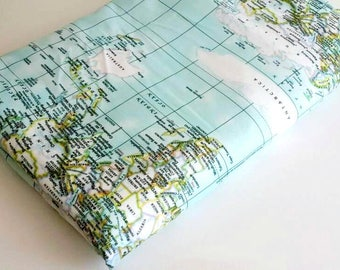 World map  fabric -Maps print , - fabric map of the world  - mint blue fabric - fabric map - world fabric yardage , travel fabric