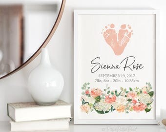 Peach Nursery Decor, Floral Watercolor Wall Art, Personalized with Baby Footprints, Your Child's Feet 8x10 in UNFRAMED PCL