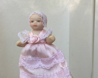 """Dollhouse Miniature 1"""" Scale Porcelain Baby in Pink Dress (JL)"""