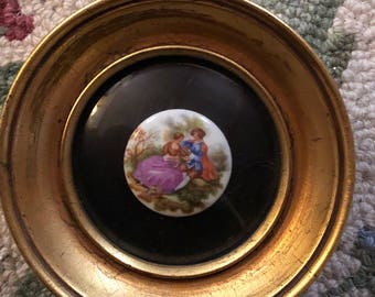 French Country Victorian Couple Frame Fragonard Cameo