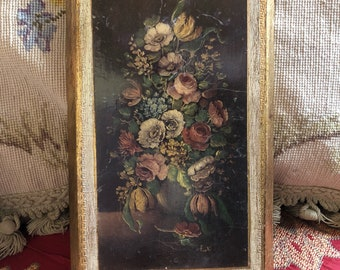 Country Italian Florentine gold picture frame with roses