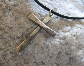 Sterling Silver Hammered Cross Pendant on Black Leather with Sterling Clasp, Men, Women and Teens- One of a Kind, Toniraecreations