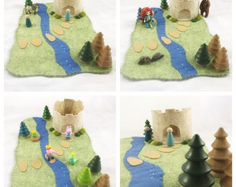Castle Playscape Play Mat wool felt Fountain princess storybook fairytale storytelling fantasy pretend play dollhouse peg doll