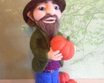 Needle felted thanksgiving pumpkin gnome