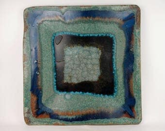 Large square tray in sea green with cobalt blue accents and sparkly fused glass