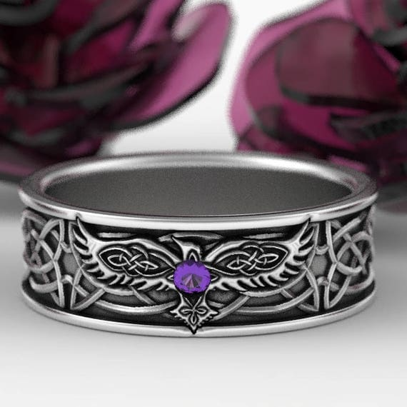 RESERVED FOR Avi Sterling Silver Celtic Raven Ring with Amethyst, Mens Wedding Band, Raven Jewelry, Celtic Knot Ring, Custom Size 1161