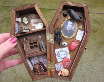 Poe Miniature Coffin Shadow Box