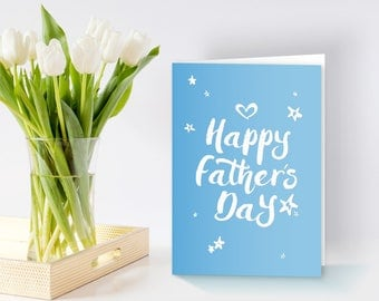 Happy Father's Day Greeting Card. Typographic Greeting Card. Blue Father's Day Card. Best Dad.