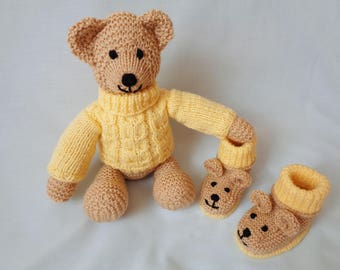 Teddy Bear, Hand Knitted Teddy Bear Set, Teddy Bear Booties, Handmade Bear, Novelty Teddy booties, Baby Booties, baby gift, child, gift