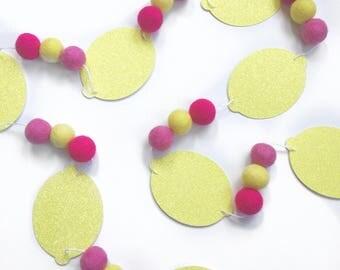 Lemon + Felt Ball Garland glitter banner lemonade party girls bedroom decor Birthday Party Pineapple Let's Flamingle Lemonade Stand
