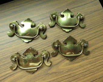 Vintage Lot of 4 Brass Finish Ornate Drawer Pulls