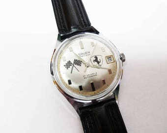 Gruen Precision Men's Silver Dial With Ferrari Logo Watch 1960's Swiss Made 17 Jewel Automatic Movement