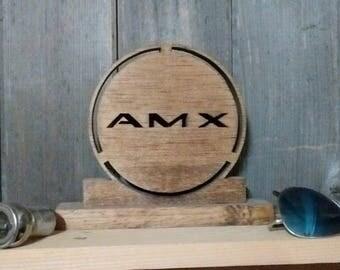 AMC AMX Emblem Shelf Sign-Unique scroll saw automotive art created from wood.