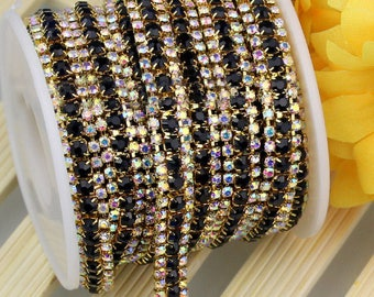 3 Row Gold Tone Black and AB Clear Rhinestones Trim - Crystal Chain - Wedding Cake Deco - 2mm & 3mm Rhinestone  1 yard