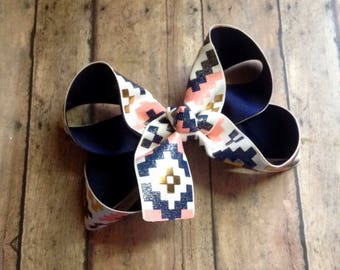 Tribal print hairbow