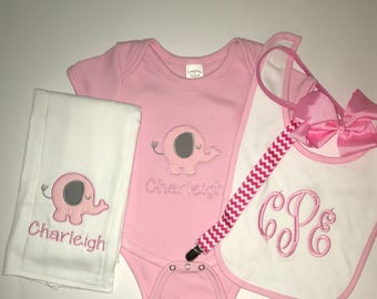 Baby Girl Personalized/Monogrammed Gift Set