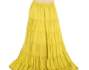 PROMOS Very long gypsy yellow skirt, with large wheels, bohemian, tribal, festival, pixie long skirt, boho, trance, burlesque, danse long sk