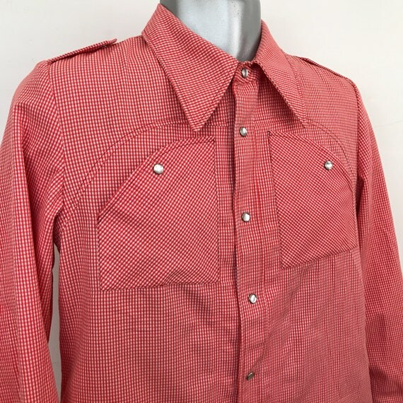 Vintage western shirt red gingham cowboy shirt 70s Austin Reed checkered menswear rockabilly medium 1970s shirt