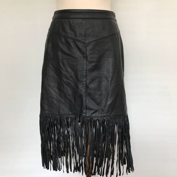 leather skirt pencil black knee length 1980s style sexy UK 10 fringed tasselled mini skirt