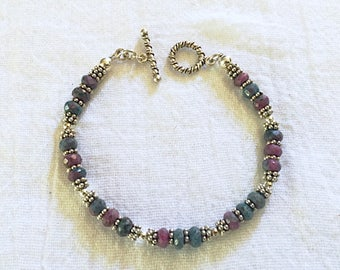 Ruby Zoisite and Sterling Silver Bracelet