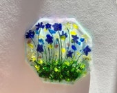 Stained Glass Greeting Cars Fused Blue Flowers Hand Painted Wild Flowers Keepsake