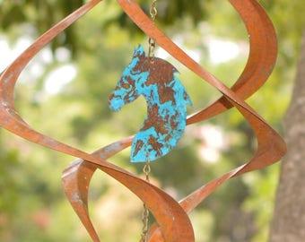BreezeWay Horse Wind Spinner | Garden Wind Art w/ Copper Patinas & Cyrstal Suncatcher | 2 Sizes | Pure Copper | | Handcrafted in Texas